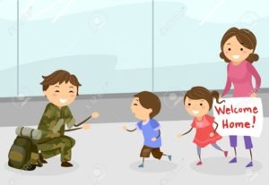 Stickman Family Welcome Dad Soldier Illustration
