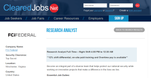 Research Analyst, FCiFederal